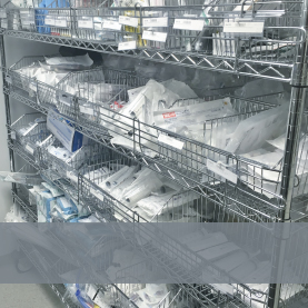 Chrome wire shelving and trolley's